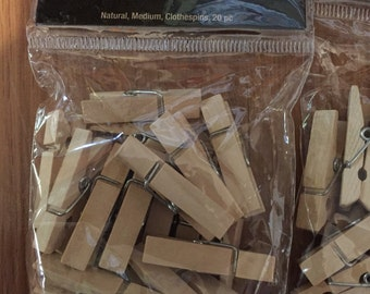 Lot of multi sized wood clothes pins