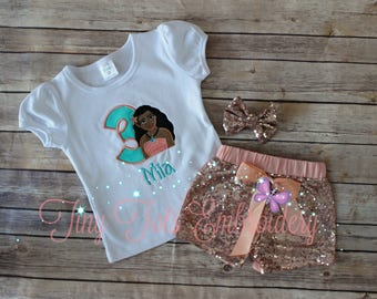 Moana Birthday Outfit ~ Includes Top, Sequin Shorts and Hair Bow ~ Customize in any colors!
