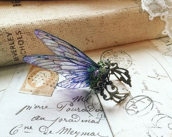 Pretty NEW purple Faerie wing adjustable ring