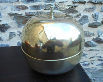 Large Brass Apple Container