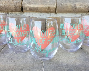 Will you be my bridesmaid? Will you be my maid of honor? Bridesmaid Proposal, Asking Bridesmaids, Will you be my bridesmaid wine glass
