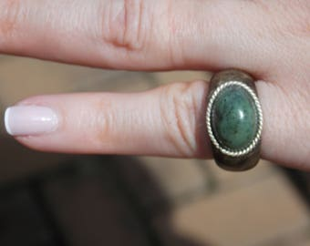 Womans Natural Russian Jade cabochon on Buckeye Burl wood ring size 3 3/4