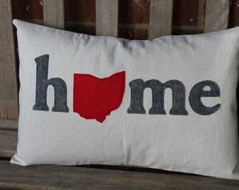 """Customizeable """"HOME"""" Ohio Pillow Cover"""