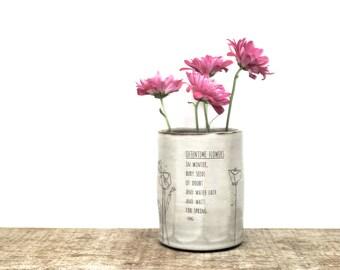 Poppy flower poetry faceted flower vase. Handmade ceramic vase. Be Positive Poppy illustration winter poem vase. Oftentime Flowers. IN STOCK