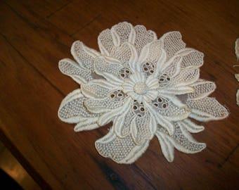 1900s antique lace applique 3-dimensional venise lace