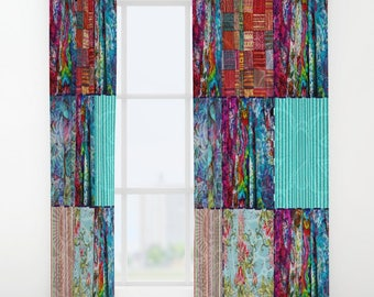 Boho Chic Block Pattern Window Curtains or Valance