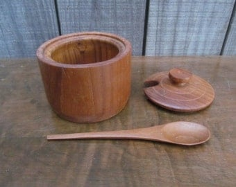 Teak Wood Sugar Bowl ~ Condiment or Relish Dish with Matching Spoon