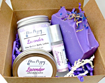 Lavender Gift Box Set, Lavender Bath Set, Mother's Day Gift, Soap Bath Gift, Spa Set, Soap Lotion Perfume, Gift for Her, Bridal Shower Gift