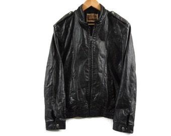 Vintage 70s Womens Cafe Racer Leather Jacket - Medium - Moto Jacket - Biker Jacket - Genuine Leather - 1970s Vintage Clothing - Womens Med -