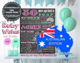 Personalised 80th Birthday 1937 Chalkboard Printable- Australian