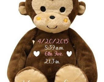 Personalized Birth Announcement, Stuffed Monkey, Personalized Stuffed Monkey