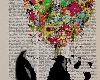 Panda Bear Dictionary Art Print, Flower Bouquet Heart Panda Art Wall Art Home Decor Gift Ideas Panda Decor da1449