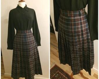 1960s skirt, 70s, 60s, tartan skirt, retro, vintage,