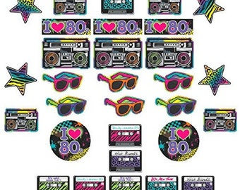 Totally 80s Colorful 30 Pc Cardstock Room Decorating Kit - 80's Party Decorations - Fun Eighty's Birthday Party Decor!