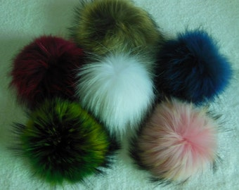 15cm Wine Real Raccoon Fur Pom Pom Knit Hat Pompoms with snap Removable