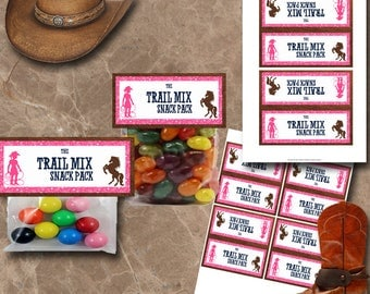 Cowgirl Treat Bag Toppers Instant Download Printable Treat Bag Toppers