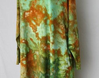 Tie dye Tunic Plus size Women's 3/4 sleeve top Ice Dye boho indie festival fashion style - Size 1XL - Kauai crinkle