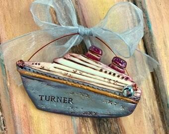 Custom Keepsake Polymer Clay Cruise Ship / Boating / Nautical / Vacation Personalized Ornament
