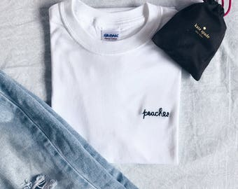 """Tumblr Embroidered """"peaches"""" T-Shirt (customize!) Active"""