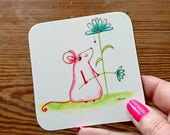 Mouse Art Coaster Watercolour Art Pink mouse Drinks mat Quirky mouse coasters Cute coaster House Warming gift