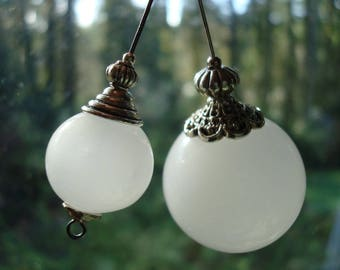 Jade-White Hollow Lampwork Balls. 4 Sizes >30mm, 25mm, 16mm & 13mm. Semi-Opaque, White Handmade Beads. Out Of Production/ Limited Supply.