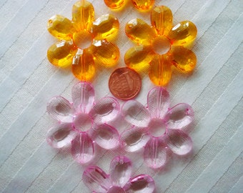 Giant Acrylic Flowers 46x6mm 8pcs Bead Frame Center Hole 11mm. Faceted, Translucent, Pink & Orange Big, Colorful, Sun Catcher Flower Beads.