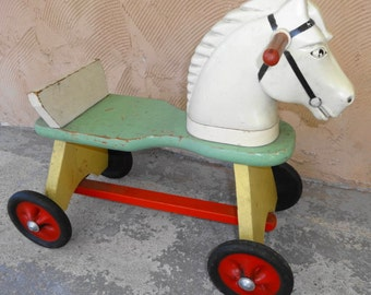 1950s Ride on Horse. Solid Wood with hard plastic head.