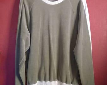 Vintage 90s Sweater  VINTAGE  1990s  Sweatshirt Velvet beige Large Mens Sweatshirt L Striped Velvet Sweatshirt L