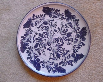 Blue and White Ceramic Plate, Talavera style, made in Mexico.