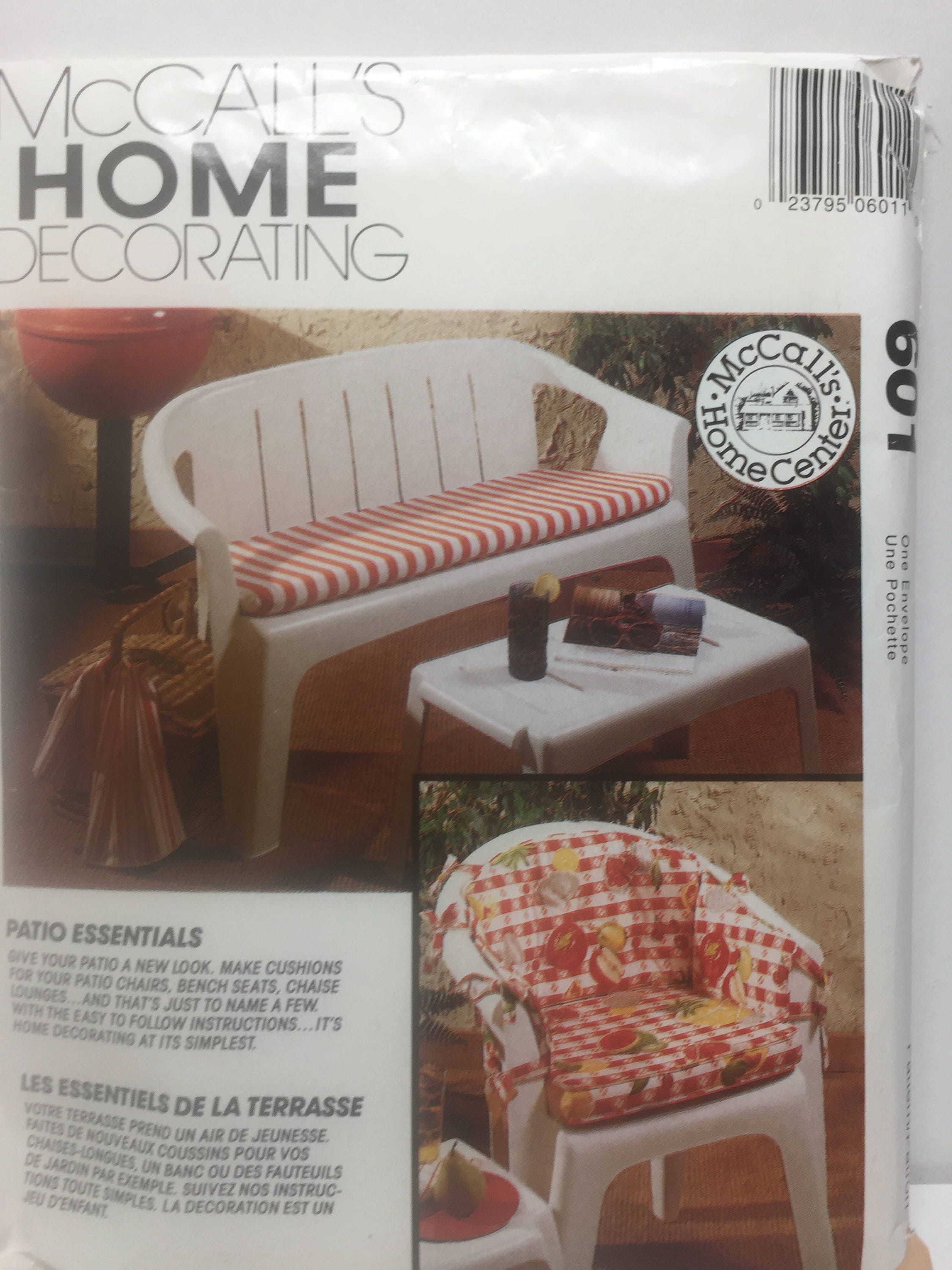 Mccall 39 S 601 Home Decorating Patio Essentials Sewing Pattern Patio Furniture Bench Cushion