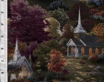 """David Textiles Thomas Kinkade """"Spring Chapel"""" Scenic Church Fabric BTFQ"""