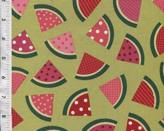 "Robert Kaufman Ann Kelle ""Metro Market"" Watermelon Green Fabric"