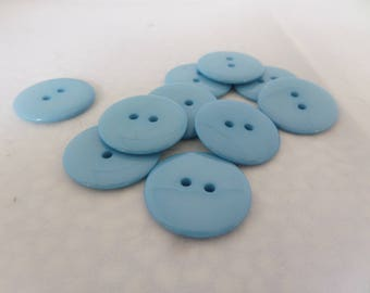 blue resin buttons, mid blue buttons, pack of ten, 10 button pack, 10 blue buttons, 23mm size, two hole buttons, resin buttons