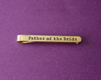 Personalized Brass Tie Clip - Custom Gold Toned Tie Clip - Tie Bar - Father of the Bride Gift - Engraved Tie Clip - Father of the Groom Gift