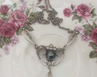AmLee Signed Sterling Silver and Hematite Drop Necklace Am Lee