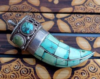 Vintage, Old Tibetan Turquoise Sterling Silver Pendant
