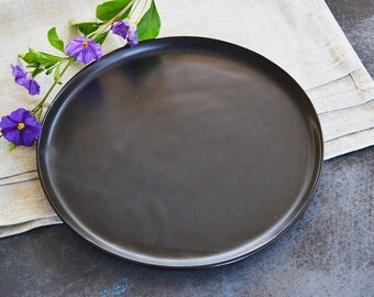 Serving Plate, Black Tray, Ceramic Handmade Plate, Ceramic Tray, Serving Platter, Decorative Plate, Black Decor, Housewarming Gift