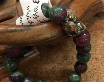 Ruby Zoisite Stretchy Bracelet AA gem quality
