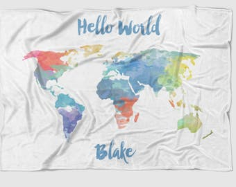 Hello World baby blanket, Personalized baby blanket - Map