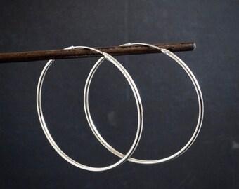 Silver Hoop Earrings, Large Silver Hoops, Simple Hoops, Classic Hoops, Modern Earrings, Minimal Earrings, Sterling Silver, 925