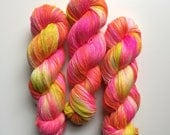 New edition Hand dyed sock yar, in Stowlips 4ply finger weight superwash BFL and bamboo 100g. BFL is a British breed.