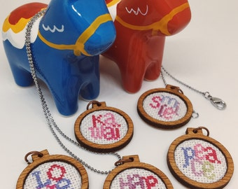 Cross stitch embroidered wooden pendant/xmas ornament/charm - words
