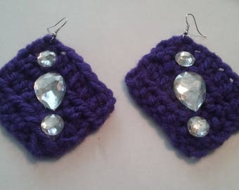 Purple crocheted earrings