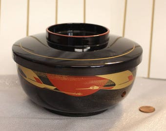 Japanese Bento bowl, lunch box, vintage Asian Red, Gold and Black, Lidded Bowl, Cranes, Sensu