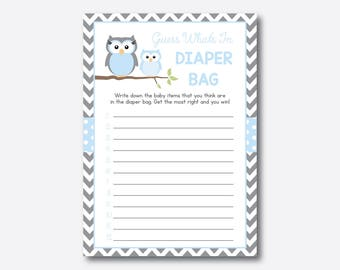 Instant Download, Owl Whatu0027s In The Diaper Bag Game, Owl Baby Shower Games,
