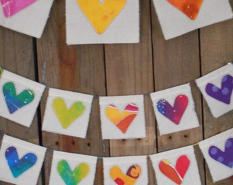 Love prayer flags medium with tie dye rainbow hearts one of a kind