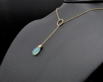 Chalcedony Adjustable Lariat Necklace, Chalcedony Jewelry, Dainty Necklace, Dainty Jewelry, Minimalist Necklace, Minimalist Jewelry