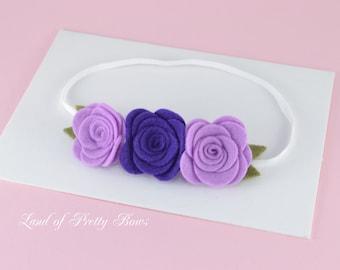 Felt Flower Headband - Lavender and Purple Flowers - Baby Headband - Flowers Crown - Skinny Headband
