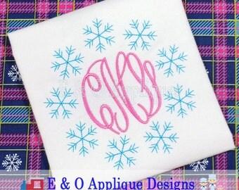 Snowflake Digital Embroidery Design - Snowflake Monogram Embroidery Design - Winter Embroidery Design - Christmas Embroidery Design