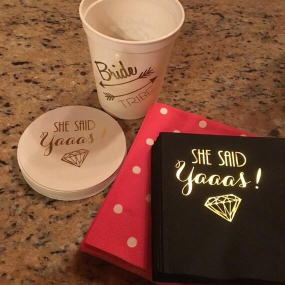 bachelorette party decorations, bach bash napkins, she said yes party napkins, she said yaaas, engagement party favors, gold foil napkins